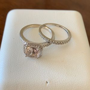 Morganite, diamond and 14k white gold ring set